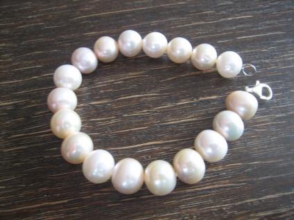exquisites Perlen Armband AAA Naturfarbe Rosa Rosé 12 mm 925er Silber 20 cm NEU