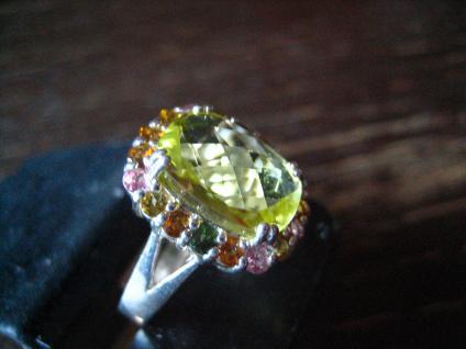 prächtiger vintage Designer Ring Cocktailring 925er Silber giftgrün Topas Topase