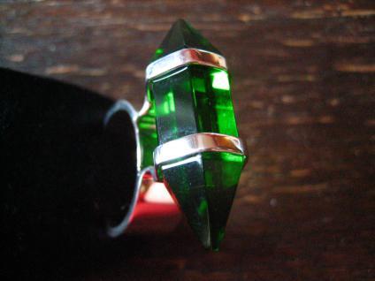 Traum Statement Designer Ring turmalin grün 925er Silber grüner Obsidian RG 60 - Vorschau 3