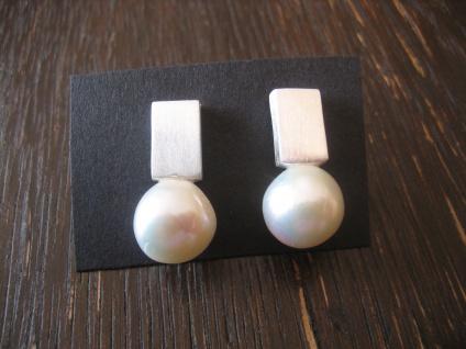exklusive moderner Designer Ohrringe Stecker 925er Silber Perlen sehr edel