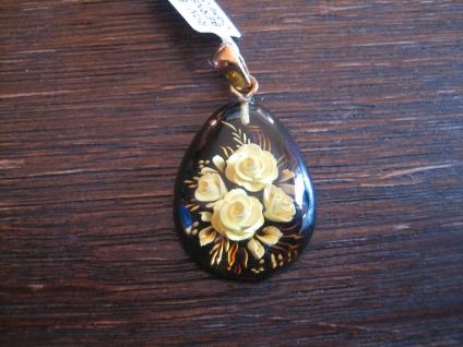 exklusiver Anhänger Bernstein Gemme Kamee Cameo Intaglio 925er Silber gold Rosen