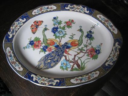 riesige italienische Fayence Majolika Keramik Platte Servierplatte Pfau Pfauen