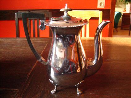 elegante große Kaffeekanne Teekanne Silberkanne auf Füssen silber pl England - Vorschau 2