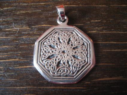 edler Anhänger Amulett 8Eck mit verschlungenen Keltenknoten 925er Silber neu