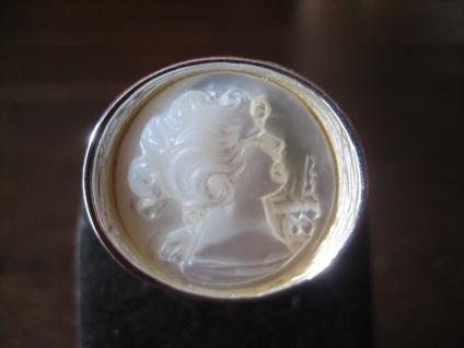 prächtiger massiver Ring Perlmutt Gemme Cameo Kamee 925er Silber verstellbar