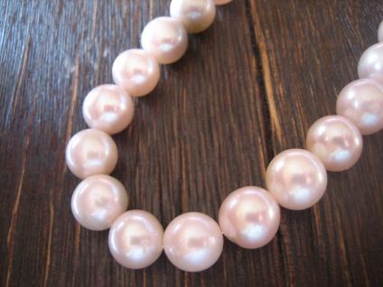 traumhafte Perlenkette Perlencollier AAAA Natur Rosa 11 mm 925er Silber NEU