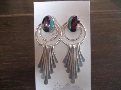 zauberhafte Indianerschmuck Ohrringe Hänger 925er Silber Farbsteine Navajo Zuni