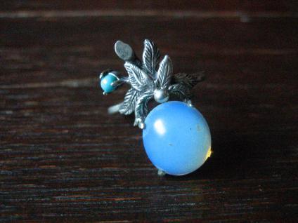 bezaubernd schöner floraler vintage Ring Mondstein Türkis 925er Silber RG 57