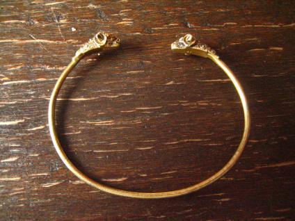 zarter eleganter Vintage Armreif Armspange Widder Widderköpfe 925er Silber gold