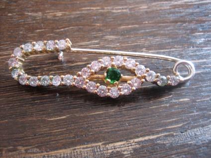 Kronjuwelen gesucht ? opulente Gewandnadel Nadel 925er Silber vergoldet Zirkonia
