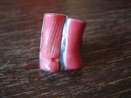 prächtiger Designer Ring echte Rote Koralle ungefärbt Italien Coral 925er Silber