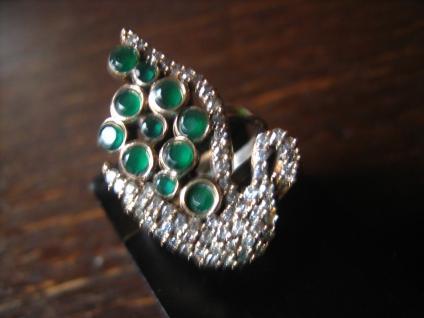 herrlicher Ring Schwan Schwäne Schwanenring 925er Silber Smaragd grün Zirkonia