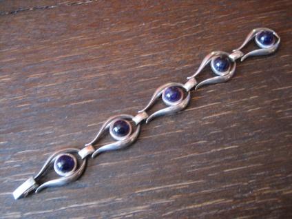 prächtiges Art Deco Amethyst Armband 835er Silber lila Rhombolit tolle Form