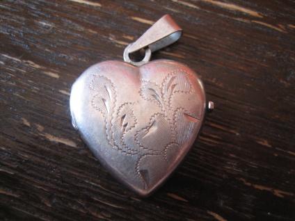 romantischer Herz Medallion Anhänger 835er Silber wunderschön graviert