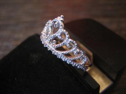 anmutiger Ring Krone Krönchen Tiara 925er Silber wunderschön neu RG 60 19 mm - Vorschau 2