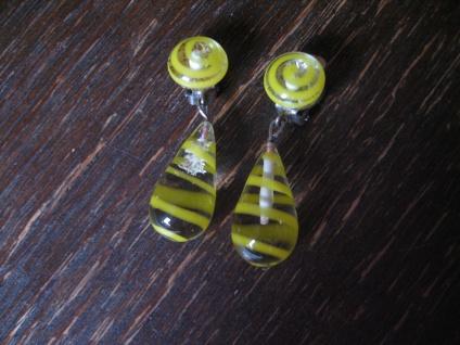 ausgefallene Vintage Ohrringe Clips Ohrclips Hänger Überfangglas gelbe Spiralen
