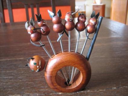 Set 6 Stück Cocktail Spieße Picker Glasmarker Katze mit Mäusen super niedlich