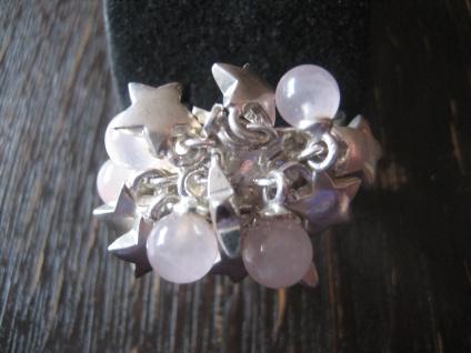 witziger Vintage Designer Ring Rosenquarz Sterne 925er Silber beweglich RG 62