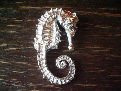 herrlicher großer Seepferdchen Anhänger 925er Silber wie lebensecht Öse verdeckt