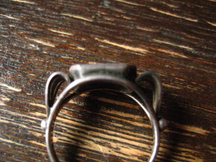 klassisch feiner Art Deco Damen Ring Siegelring Onyx 835er Silber RG 52 16, 5 mm - Vorschau 3