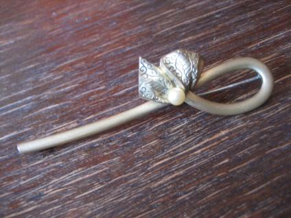 dekorative Biedermeier Brosche Schleife verziert Perle gold Doublé um 1880 - Vorschau 2
