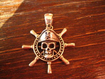 großer maritimer Anhänger Steuerrad mit Totenkopf als Pirat 925er Silber neu