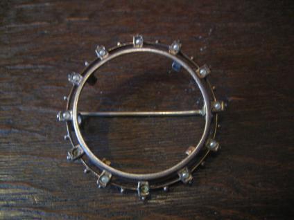 Seltene Jugendstil Brosche als Münzfassung für Münze / Münzeinlage Silber 2, 8 cm