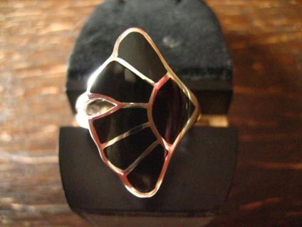 moderner sehr edler Gingko Blatt Ring 925er Silber Onyx Einlage schwarz neu RG 60 - Vorschau 1