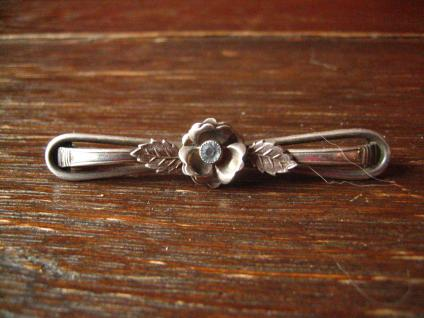 edle Art Deco Krawattennadel Brosche Stabnadel 900er Silber Stein aquamarin blau