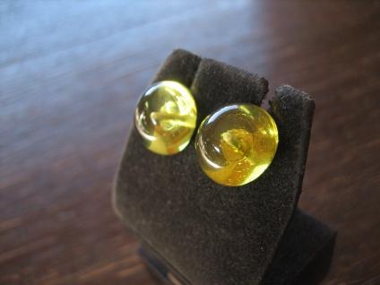 Traum in Giftgrün Ohrringe Stecker seltener grüner Bernstein 925er Silber grün - Vorschau 2