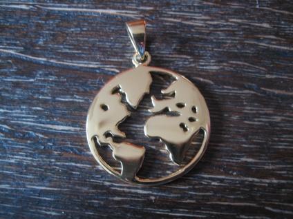 geschmackvoller großer Anhänger Erde Welt Weltkugel Globus 925er Silber gold NEU