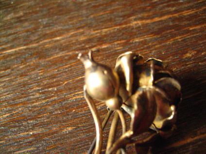 aufwändige antike Rosen Brosche Rose vollplastisch 800er Silber vergoldet gold - Vorschau 5