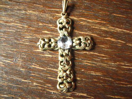 feiner Art Deco Kreuz Anhänger 835er Silber gold aquamarin wunderschön verziert