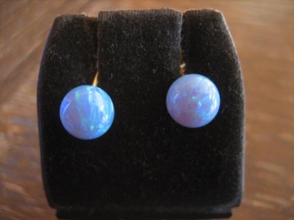 elegante Opal Ohrringe Stecker 925er Silber vergoldet Kugeln blaues Feuer NEU