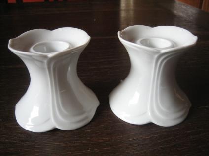 Paar 2 Stück Kerzenständer Kerzenhalter Seltmann & Weiden Fontana weiß Porzellan