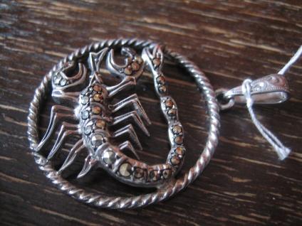 großer Art Deco Markasit Anhänger Sternzeichen Skorpion Horoskop 925er Silber - Vorschau 2