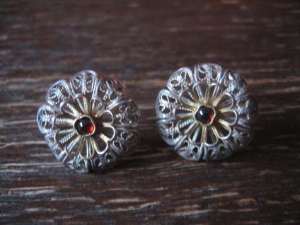 reizende Ohrringe Stecker Ohrstecker Silber Blume Blüte Tracht Dirndl Handarbeit