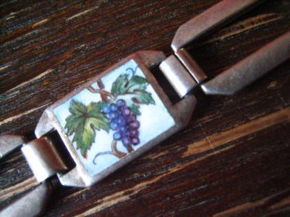 bezauberndes Jugendstil Armband emaillier Vier Jahreszeiten 835er Silber 18 cm - Vorschau 4