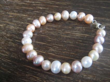 exquisites Perlen Armband AAA Naturfarbe Weiß Rosé 8 mm 925er Silber 20 cm NEU