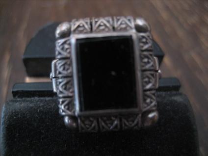 schön verzierter Art Deco Ring Siegelring Onyx 835er Silber RG 54 17 mm