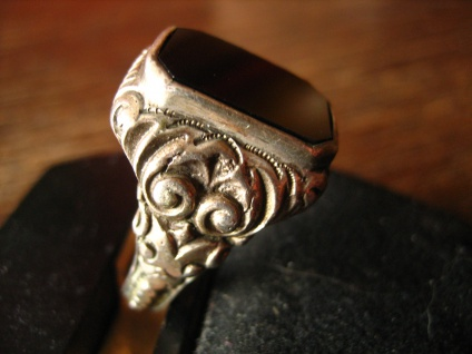 klassischer Art Deco Herrenring Siegelring 835er Silber Onyx Ring RG 57 / 58