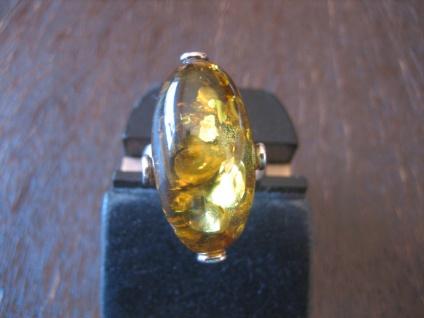 Statement Designer Bernstein Ring 925er Silber gelb grün Unikat RG 55 + NEU