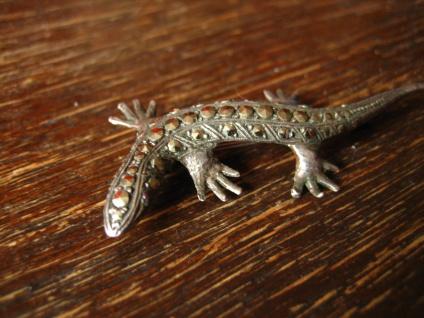 prächtige Art Deco Markasit Brosche Eidechse Salamander Gekko 835er Silber 6 cm - Vorschau 2