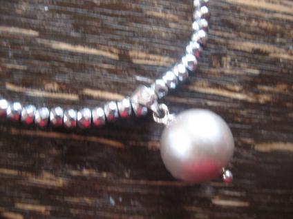 Designer Anhänger Perle Perlencollier Edison Perle grau 12 mm an Kette