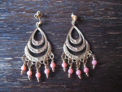 traumhaft schöne Ohrringe Hänger Chandeliers 925er Silber gold rosa Kugeln Italy