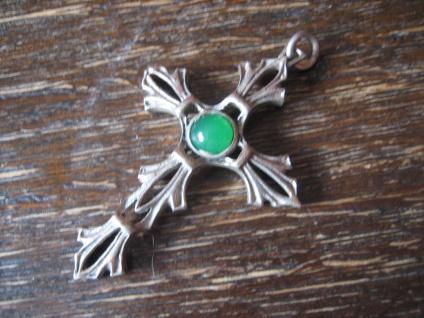 sehr schöner Art Deco Kreuz Anhänger 925er Silber grüner Stein 4, 5 x 3, 2 cm - Vorschau 2