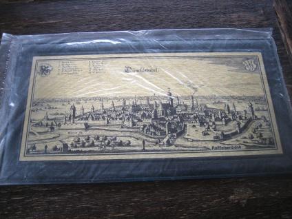 historische Stadtansicht Dinkelsbühl Dünkelsbühel Messingbild Messinggravur gold