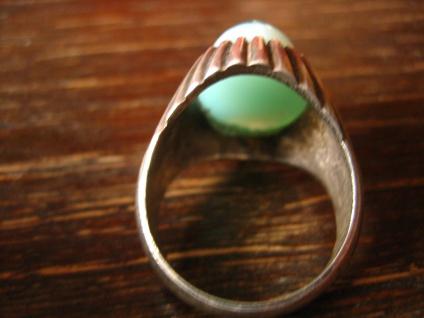 exklusiver Vintage Designer Ring 835er Silber grüner Achat als Auge Unikat RG 62 - Vorschau 4