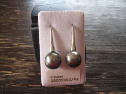 exklusive Designer Ohrringe Hänger 925er Silber Tahiti Perlen grau 10 - 11 mm