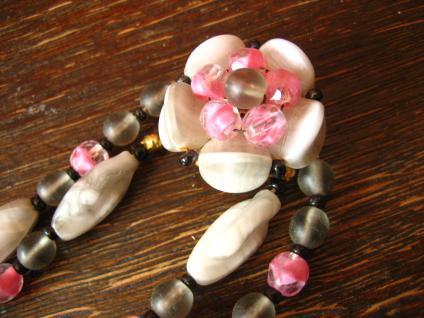 Vintage Collier böhmisches Glas Glasperlen 2reihig grau rosa 50er Jahre Fifties - Vorschau 2